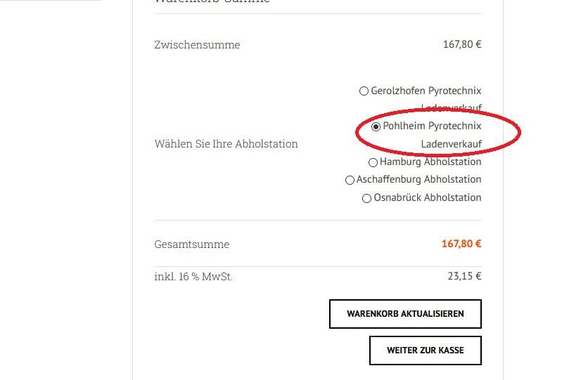 Pohlheim Feuerwerksverkauf